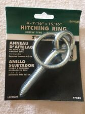 "Hitching Ring Screw Type Zinc Finish 4-7 / 16"" x 15/16"" - 2"" Ring opening 7235"