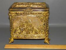 ANTIQUE ORNATE GILDED BRONZE DORE FIGURAL CHERUB JEWELRY TRINKET DESK CASKET BOX