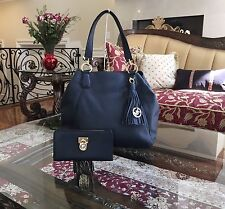 NWT,MICHAEL KORS FRANCES LARGE LEATHER GRAB BAG SHOULDER HANDBAG+WALLET$600