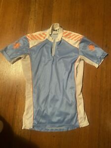 Descente Cycling Jersey Mens Small Vintage Blue/Orange/White