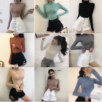 Winter Women Casual Long Sleeve Turtleneck Basic T-Shirt Stretch Wrap Tops Shirt