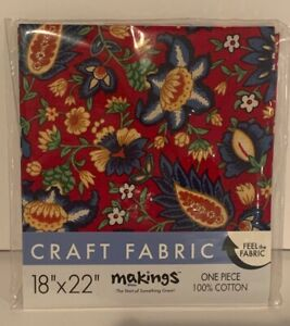"""Vintage Style Floral Paisley Craft Fabric Red 18"""" x 22"""" One Piece 100% Cotton"""