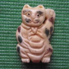 Japanese Detailed Hand Carved Scrimshaw Netsuke Bovine Bone Waving Cat Kitten A