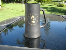 VINTAGE PLAYBOY NYMPH GIRL  BLACK GLASS MUG PLAYBOY  LOGO PLAYBOY CLUB BOTTOM