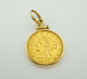 1904 2 1/2 Dollar Liberty Head Quarter Eagle Gold Coin In 14k Bezel Pendant