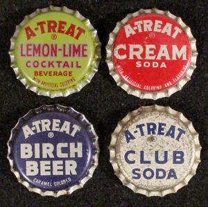4 A-TREAT UNUSED PLASTIC LINED SODA BOTTLE CAP ALLENTOWN PENNSYLVANIA CROWN PENN