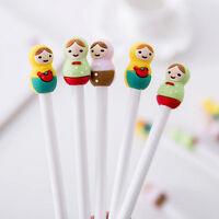 2Pcs Lovely Matryoshka Russian Girl Doll Silicone Head Gel Pens, Kawaii Pen Set