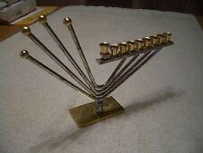 """VINTAGE 9"""" WIDE ISRAEL 24K GOLD AND SILVER PLATED MENORAH, KOREM JERUSALEM READ!"""
