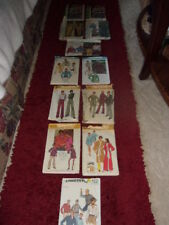 Sewing Vintage Patterns for Men's /and Women's Size Med. 12 in all [ 3 are uncut