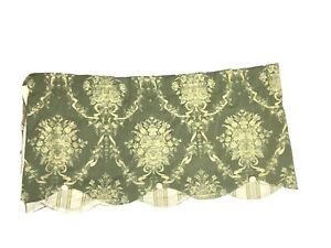 Waverly Discontinued Luxury Valance Curtain Green Yellow Floral Print Peek A Boo