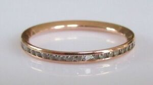 9CT ROSE GOLD 1/3CT GENUINE DIAMOND FULL ETERNITY or WEDDING RING SIZE M or M1/2