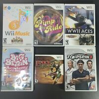 Wii Games Lot of 6 - Wii Music, Topspin 3, Big Brain, WWII Aces, Pimp My Ride,..