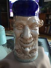 "Sarreguemines Double Face Majolica Jug Pitcher France 1890-1920 8.25"" Blue"
