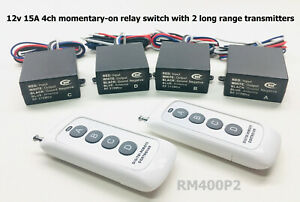 12v 4 channels MOMENTARY relay switch with 2 long range remote control RM400P2
