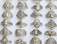10 Wholesale Lot Jewelry Mixed Style Tibet Silver Vintage Rings Hollow Design N
