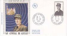 Enveloppe maximum 1er jour FDC Soie 1971 Hommage au Général Charles de Gaulle