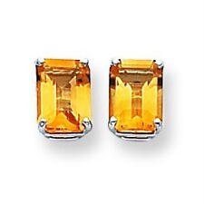14K White Gold Polished 8mm x 6mm Emerald Cut Citrine Stud Post Earrings