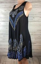 Babydoll Boho Embroidered Sleeveless One Size Sheer Shift Tent Dress  a4