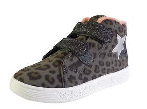 Girls Kids Child grey ankle boots leopard print zip glitter star comfort winter