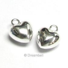 2 X Sterling Silver Little Love Sweet Puff Heart Pendant Dangle Charm