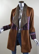 Aporia.As Women's Long Bohemian Style Coat Jacket Brown Lined Colorful Sz. Small