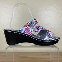 Alegria Lot-139 Loti Blooms Wedge Sandals Womens Size 36 / 6-6.5 Floral Leather