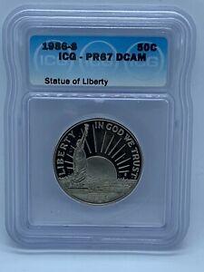 1986 S 50C Proof Half Dollar Statue of Liberty Coin Graded ICG PR67 DCAM #105