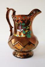 """Victorian Copper Lustre jug pitcher antique peinte à la main fleurs 20 cm/8"""""""