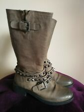 MINT VELVET LEATHER BIKER STYLE BOOTS WITH BUCKLE STUD STRAPS