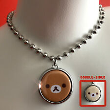 Rilakkuma necklace choker. Oversized stainless steel ball chain, doublesided.