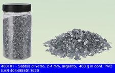 Set composto da 6 barattoli da 400 grammi di sabbia sassolini argentati