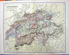 Rare Old 1876 Color Engraving Art Print MAP of SWITZERLAND CANTONS ZURICH GENEVA