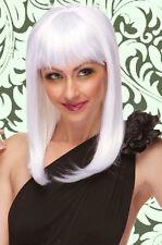 Perruque Mi-Longue Blanche avec frange femme   Wig / Wigs White
