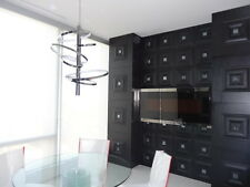 3D glue on PU Leather wall panel (#LT-11 Black/Smoked Mirror) - pack of 6 tiles