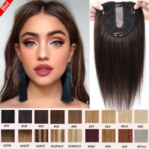 Clip In 100% Real Human Hair Silk Top Piece Mono Topper Hairpiece Women's Toupee