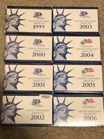 1999 - to 2006 S Proof United States Mint Sets Lot Box & COA 8 complete sets OGP