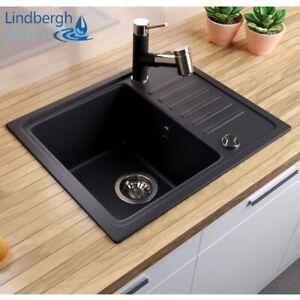 """LINDBERGH® Granit Spüle Schwarz """"SIM"""" Siphon Einbauspüle Küchenspüle Spülbecken"""
