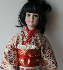 Vintage Collectors Kimono Asian Japanese Porcelain Doll Wood Stand