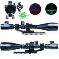 Tactical 6-24x50 AOEG Illuminated Optical Rifle Scope Green Laser Sight Mount