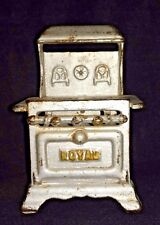 Cast Iron Miniature Toy Stove by ROYAL Dollhouse Vintage Painted Silver