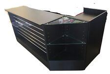 Retail Shop Counter 3 Piece L Shape- Black with Slatwall Front