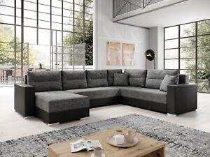 Couchgarnitur Sofa Sofagarnitur CAPTAIN U mit Schlaffunktion Wohnlandschaft NEU
