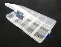 Plastic 15 Slots Adjustable Jewelry Storage Box Case Craft Organizer Beads NH