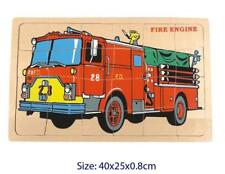 NEW Fun Factory Children's Wooden FIRE ENGINE PUZZLE 24 pce