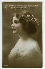 c 1910 British Glamour PRETTY YOUNG LADY glamor photo postcard