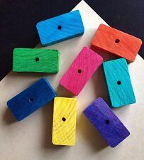 5 Large Colour Pine Wood Bricks 70x35x15mm DIY Pet Rabbit Parrot Bird Toy Parts