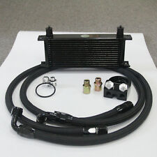 15 Row AN10 Engine Oil Cooler +Filter Plate Adapter Kits M20X1.51/8 NPT Black