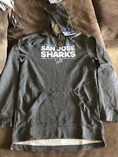 Mens Md San Jose Sharks Adidas Long Sleeve Hoodie Hockey Sweatshirt NWT $100