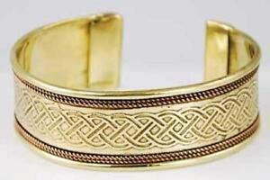 Celtic Knot Engraved Copper & Brass Bracelet