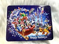 Empty Tin Disney Mickey Mouse & Minnie Happy Holidays Sleigh Castle Pluto Tink